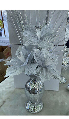 Stunning 26cm Silver Mosaic Romany Mirror Shine Vase With Silver Flowers • 24.99£