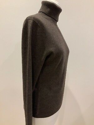 N Peale Dark Brown Jumper 100% Cashmere Jumper Polo Neck Long Sleeves Size 10 • 150£