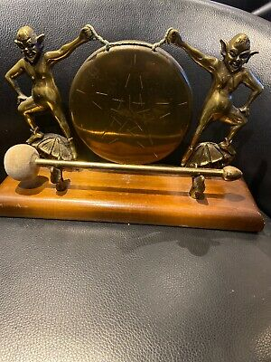 Vintage Brass & Wood Gong , Mystical Antique Imp Goblin Characters • 40£