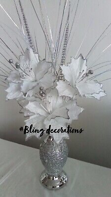 Stunning 26cm Silver Mosaic Romany Mirror Shine Vase With White Flowers • 24.99£
