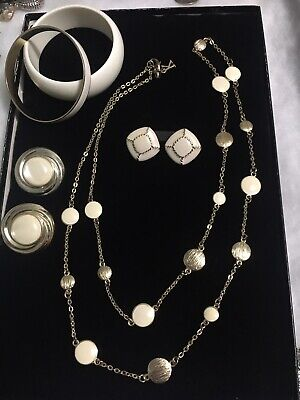$ CDN10.34 • Buy Gold Tone/Cream Color Lot W/ Long Necklace, 2 Pr Earrings & 2 Bangles Used