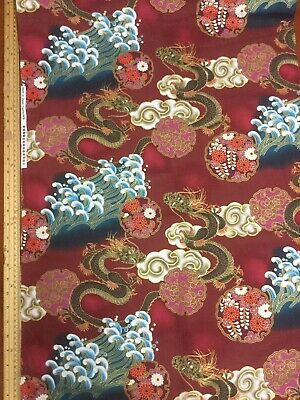 """£5 • Buy Dragons Japanese Style 100 % Cotton Fabric 1 Mtr X 44"""" Wide"""