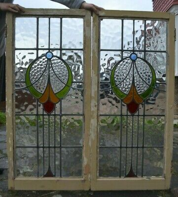 TWO Leaded Light Stained Glass Window Sashes. DELIVERY OPTION! A1085c • 185£