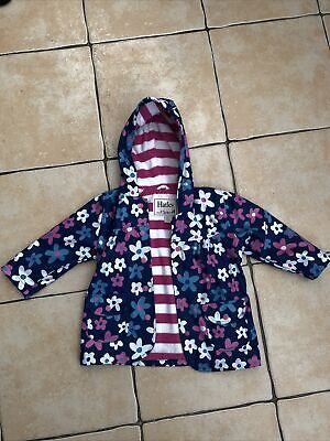 Hatley Girls Blue Coat With Pink And White Flowers - Size/Age 2 • 4.99£
