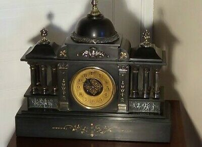 Huge Antique Marble Slate Mantel Clock, Circa 1870 & Great Condition  • 102£