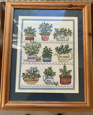 Finished Cross Stitch Professionally Mounted Herbs Framed Picture • 25£