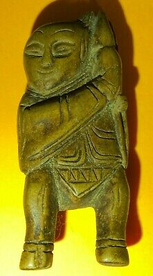 Interesting Old Oriental Japanese Wooden Netsuke Carving Of A Standing Man  • 9.99£