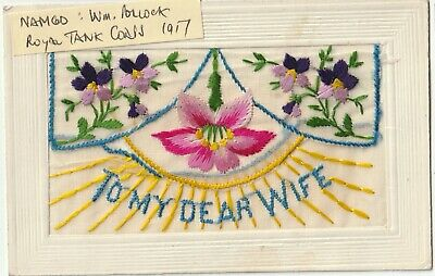 WW1 Embroidered Silk From Royal Tank Corps: Wm Pollock 109663 Lived Glasgow    • 8.99£