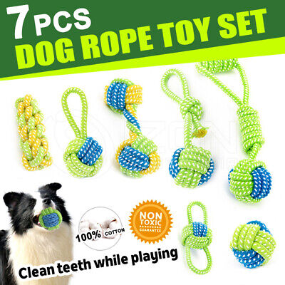 AU14.98 • Buy 7PCS Dog Chew Toys Rope Pet Puppy Teeth Clean Ball Braided Tough Strong Bite