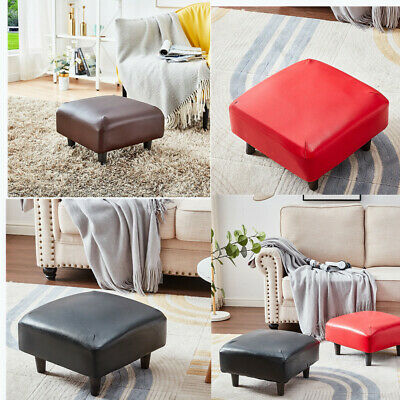 Small Foot Stool Low Square PU Leather Footrest Ottoman Padded Seat Tiny Chair  • 23.99£