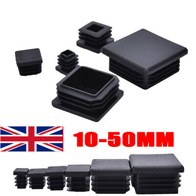 All Size Square Plastic End Cap Blanking Plugs Tube Box Section Inserts Black UK • 3.99£