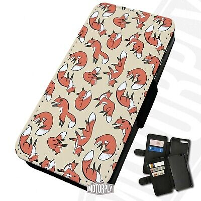 Printed Faux Leather Flip Phone Case For IPhone - Abstract-Fox-Pattern • 9.75£