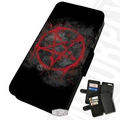Printed Faux Leather Flip Phone Case For IPhone - Blood-Red-Pentagram • 9.75£