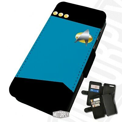 Printed Faux Leather Flip Phone Case For IPhone - Blue-Shirt-Star-Trek • 9.75£