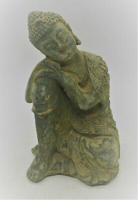 Beautiful Ancient Gandhara Bronze Seated Buddha Figurine • 67£