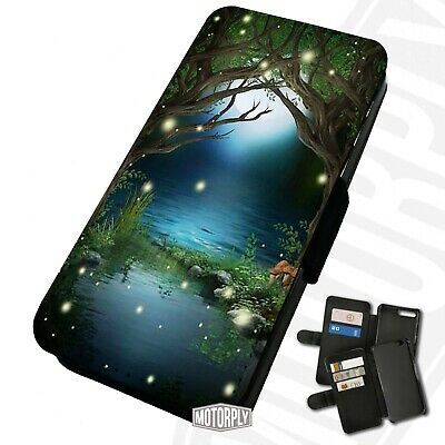 Printed Faux Leather Flip Phone Case For IPhone - Enchanted-Fairy-Forest • 9.75£