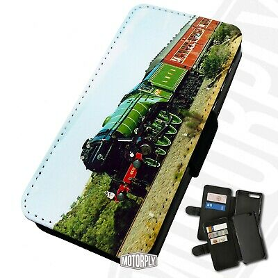 Printed Faux Leather Flip Phone Case For IPhone - Flying-Scotsman-Steam-Engine • 9.75£