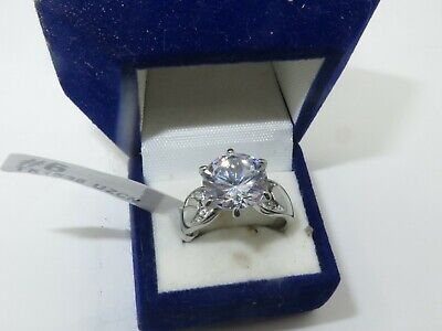 Ladies Silver Ring Cz 5 Carat Stainless Steel Pave Cubic Zirconia New 1536  • 13.99£