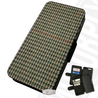 Printed Faux Leather Flip Phone Case For IPhone - Houndstooth-Tweed-Red • 9.75£