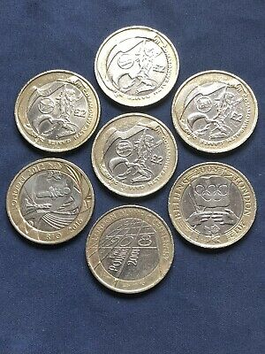 Complete Set 7 Commonwealth Games & Olympic Games £2 Coins Inc NI Two Pound Coin • 88.99£