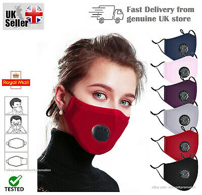 WASHABLE FACE MASK 4 Layers With PM2.5 Filter & Air Valve Cotton Reusable Masks • 2.89£