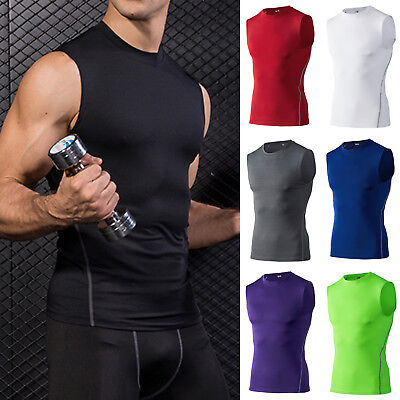 Mens Compression Base Layer Sleeveless Vest Tops Fitness Sports Workout Tank Top • 10.06£