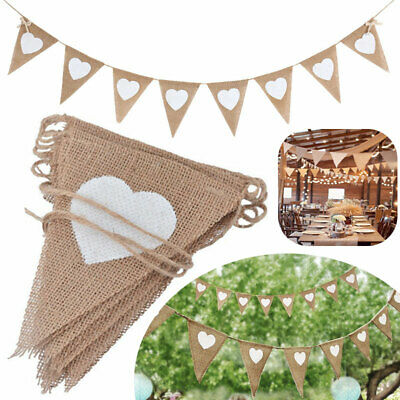 Bunting Hessian Vintage Flag White Love Heart Wedding Valentine Party Banner • 4.13£