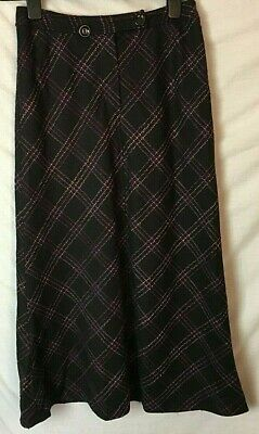 ALEX & CO SKIRT ~ Size 10 ~ Maxi Long ~ Black ~ Pink Check ~ Wool Cashmere Mix D • 12.95£