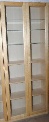 Double Ikea Billy Display Cabinet With Oxberg Glass Doors & 3 Glass Shelves • 50£