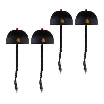 4x Chinese Black Fancy Dress Hat With Ponytail Oriental Party Costume Accessory • 14.20£