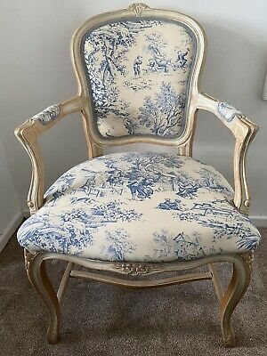 Shabby Chic French Louis Chair Carver Blue Toile Vintage Antique Country Bedroom • 195£