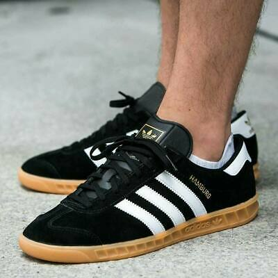 AU217 • Buy Adidas Mens Originals Hamburg Suede Shoes Trainers In Black And White