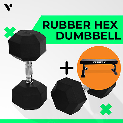 AU51.99 • Buy Verpeak Rubber Hex Dumbbell 5kg - 30 Kg Weight Home Gym Training Fitness