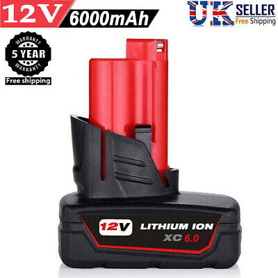 For Milwaukee M12 12 Volt XC 6.0 Extended Capacity Battery 48-11-2460 2401 6.0AH • 17.59£
