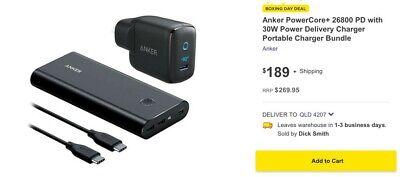 AU160 • Buy Anker PowerCore+ 26800mAh Power Bank / Charger - Brand New - Box Unopened