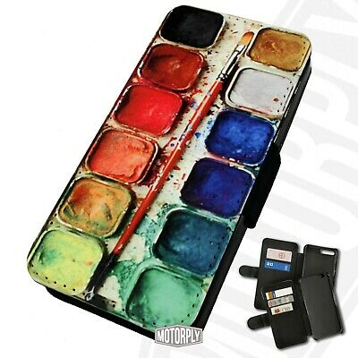 Printed Faux Leather Flip Phone Case For IPhone - Paint-Set-5 • 9.75£