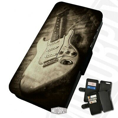 Printed Faux Leather Flip Phone Case For IPhone - Rustic-Sepia-Guitar • 9.75£