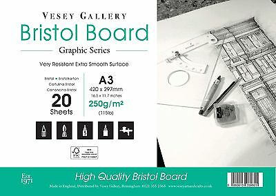 £10.95 • Buy Bristol Board Pad Sized A3 250gm Ultra Smooth White. 20 Sheets. Made In UK.