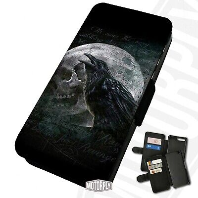 Printed Faux Leather Flip Phone Case For IPhone - Skull-Moon-Raven-Crow-Poe • 9.75£