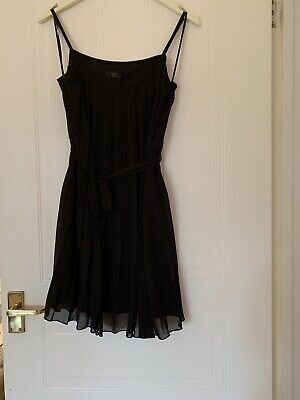 Rare London Topshop Concession Dress 8 36 Black Pleated Dress Strappy • 8.50£