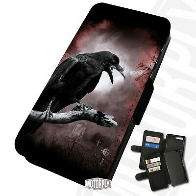 Printed Faux Leather Flip Phone Case For IPhone - Spooky-Red-Eye-Crow • 9.75£