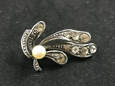 Antique Edwardian Silver Paste Brooch With Pearl (poss Faux), Leaf • 0.99£