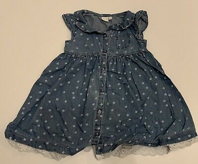 Debenhams Blue Zoo Baby Girls Denim Style Dress 18-24 Months • 1.99£