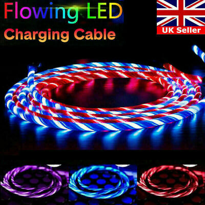 LED Flowing Light Up Charge Cable For IPhone / Samsung / Android / Mobile Phone • 3.89£