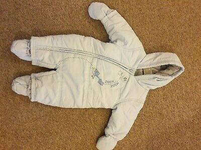 Baby Boy 0-3 Months Blue Mothercare All In One Snowsuit Pramsuit, New No Tags • 5£