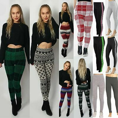 £8.89 • Buy LADIES WOMENS WARM THICK CHUNKY RIBBED SZ 8-26 And PRINTED KNITTED LEGGINGS