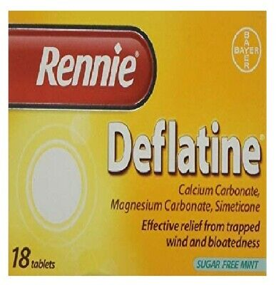 Rennie Deflatine Trapped Wind & Bloatedness Relief Tablets Sugar-Free Mint - 18  • 4.05£