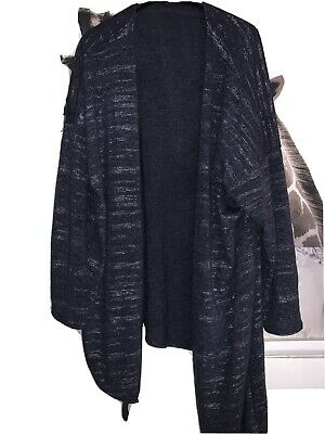 Size 24 So Fabulous Navy And Silver Fleck Waterfall Cardigan  • 2.75£