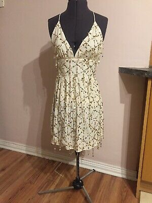 Brand New Ex Topshop Concession Sequin Cream Ivory White Gold Party Dress 8 36 • 4.99£