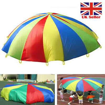 Kids Play Parachute Multicolored Play Tent With 8 Handles Indoor Outdoor Games • 13.87£